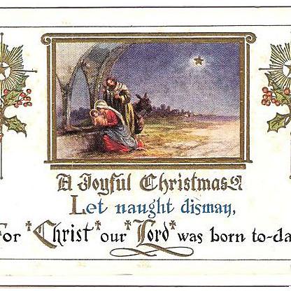 1915 Embossed Christmas Post Card ~ Nativity Scene