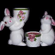 AVON White Bunny Rabbit Candle Holders ~ 1980 & 1981 ~ Handpainted