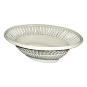 SALE Reticulated Milk Glass All White Oval Centerpiece Fruit Bowl