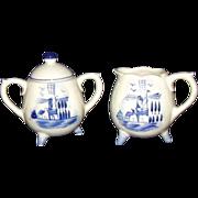 Delft Blue Footed Sugar Creamer Set Miniatures Korea