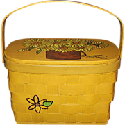 Caro-Nan Basket Purse Sunflowers Hand Painted