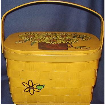 Caro-Nan Basket Purse Sunflowers Hand Painted