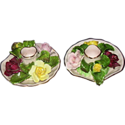 Denton Best Bone China England Roses Bouquet Candle Holders Set