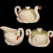 Czechoslovakia Green Lustre Ware Swan Teapot, Creamer, Covered Sugar Set