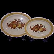 REDUCED Metlox Poppytrail Golden Fruit Oval Platters California 1960-71 Set of 2