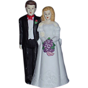 REDUCED Bride and Groom Wedding Cake Topper Bisque Porcelain 1980s