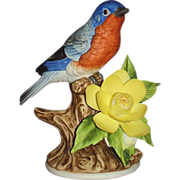 Blue Bird Porcelain Sculpture Andrea by Sadek 9611 Dated 1990