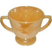 Fire King Peach Lustre Laurel Pattern Open Sugar Bowl is Footed and has Double Handles.
