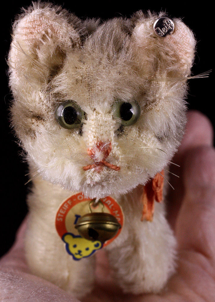 Sweet Gift For Her: Tiny Impish '50s/'60s Steiff TABBY Cat Kitten 2 IDs See