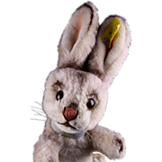 Rare '50s Steiff Begging Bunny Rabbit Dralon Hase 2 IDs TALKS