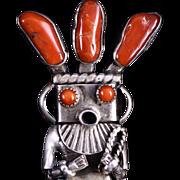 SOLD Native American Navajo Jewelry Artist Helen Long Vintage Silver & Coral Kachina Penda