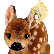 Earliest Post WWII Model Tiny Brother Steiff Velvet (een) Fawn Jungreh Baby Deer All ID