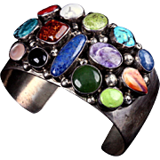 SOLD Heavy Sterling Silver Multi Stone Cuff Bracelet Navajo Emer Thomson Turquoise Coral Lapis