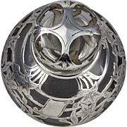 Unusual Hemispherical Shape Beautiful Design Antique Alvin Silver Overlay Perfume Bottle
