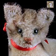 SALE Rare Tiny Sister '50s Steiff Fiffy Reclining Tabby Kitten Cat ID