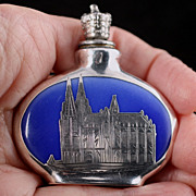 Porcelain Silver Overlay Miniature Crown Top Perfume Bottle Germany