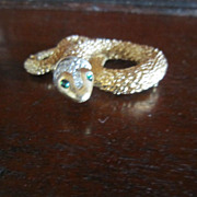 Panetta Gold Tone Snake Brooch with Rhinestones