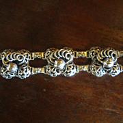 Hobe Sterling Pansy Link Bracelet - 1927  to 1932 Mark