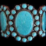 Dean Brown Turquoise Cluster Cuff Bracelet - Navajo