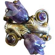 Hands with Amethyst Flowers Sterling Cuff Bracelet and Lopez  Earrings