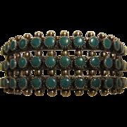 Zuni 3 Row Turquoise Sterling Cuff Bracelet