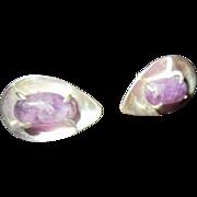 J Sotelo Modernist Sterling Shell with Pronged Amethyst Earrings