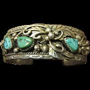 Navajo Traditional Sterling Bracelet: Turquoise, Leaves, Tendrils