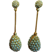 Ciner Faux Turquoise Drop Earrings