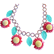 Carmen Miranda Style Necklace with Sunflowers in Hard Plastic and Celluloid Link Necklace