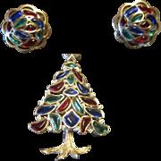 Trifari Christmas Tree Brooch and Earrings - Multi Color Modern Mosaic 1966