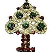 Brilliantly Sparkly Hobe Christmas Tree Brooch - Red, Green and White