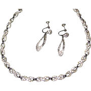 Bogoff Rhinestone Figure Eight Choker Necklace and Drop Earrings