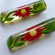 Gorgeous apple juice reverse carved and painted dress clips PAIR