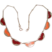 Jacob Bengel Galalith and Chrome Necklace Art deco
