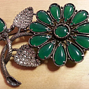 Chrysophase/Marcasite silver floral brooch pin