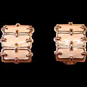 REDUCED St. John Vintage Earrings -  Ivory Enamel and Gold Toned Metal