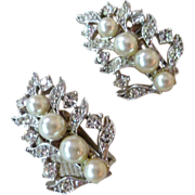 REDUCED Gorgeous Faux Pearl and Rhinestone Leaf Earrings