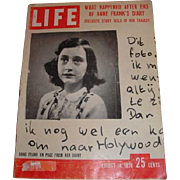 August 18, 1958 LIFE magazine with cover Anne Frank's tragedy