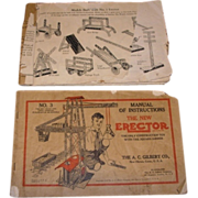 Set of two Erector Set instruction and assembly manuals.  No. 1 and No. 3 books ...
