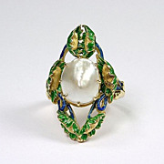 Everything old is new again: Art Nouveau Pearl, Enamel ring, c.1900