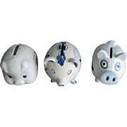 SALE 3 Ceramic Pig Banks