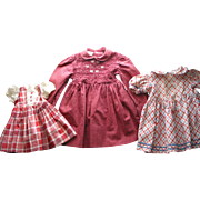 3 Older Cotton Doll Dresses