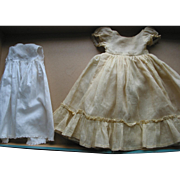 SOLD Older Cotton Doll's Dress and Slip