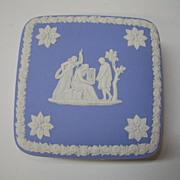 VINTAGE Wedgwood Blue Jasperware 4inch square Trinket Box