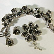 VINTAGE Demi-Parure Black and Clear Dazzling Juliana Set