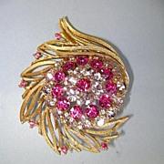 VINTAGE Lisner Beautiful Hot Pink and Lavender Textured Brooch