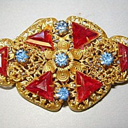VINTAGE Czechoslovakia Colorful Beautiful Brooch.