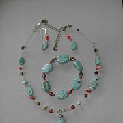 Three Piece Set of Turquoise Swarovski Beads and Carnelian Bracelet Necklace and Earrings