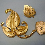 VINTAGE TRIFARI Gold Tone Brooch and Earrings   Classic