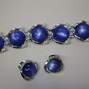 VINTAGE Unsigned Thermoplastic Cat's Eye Bracelet and Earrings 50 'S